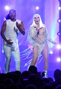 LAS VEGAS, NV - MAY 21: Actor/singer Cher (C) performs onstage during the 2017 Billboard Music Awards at T-Mobile Arena on May 21, 2017 in Las Vegas, Nevada. (Photo by Ethan Miller/Getty Images)